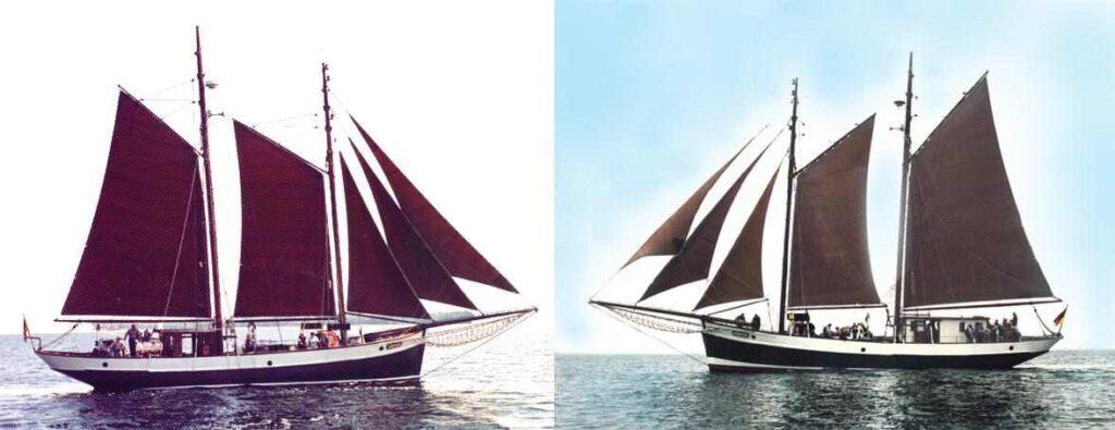Seitenansicht der Jachara im Vergleich vor und nach dem Umbau